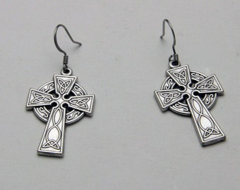 Small Celtic Cross Silver Tone Earrings