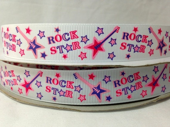 5 Yds 7/8 Inch ROCK STAR printed grosgrain ribbon for Low Shipping Cost