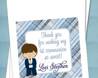 Personalized Favor Bags - Boy First Holy Communion - Confirmation - Primera, Favor bags, Candy Buffet, Candy Bags, Treat Bags - Set of 25