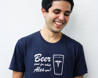 Craft Beer men's t-shirt, large good for what ales you shirt