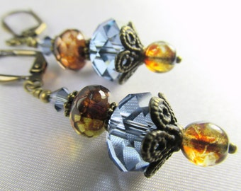 Natural Brass Blue Denim and Brown Swarovski Crystal and Czech Glass Earrings