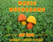 MUSHROOM CAT TOYS / two catnip toys / magic mushrooms / shrooms / organic catnip cat toy / weird cat toys / cat lover gift / meowadys