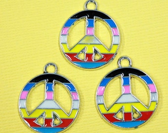 5 Peace Sign Enamel Charms Rainbow Colors - E19