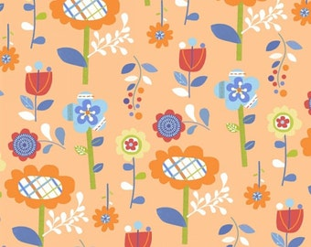 Mother Goose Tales Fabric Funky Flowers in Orange Jill McDonald Windham Fabrics One Yard