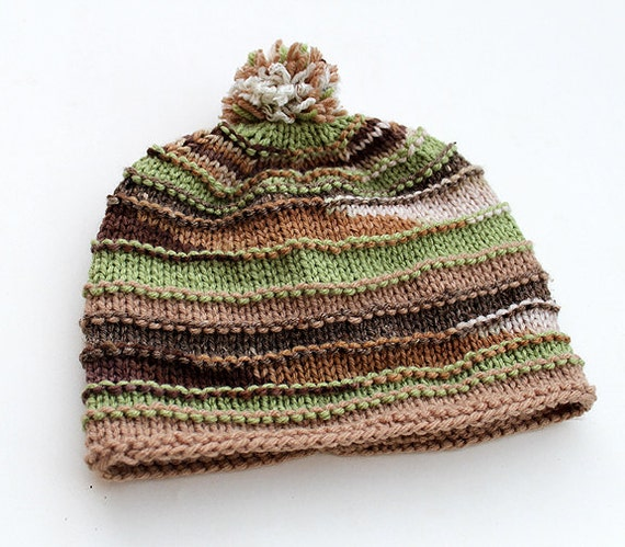 Striped Beanie Knitting Pattern : Items similar to Striped Hand Knit Hat - Beanie Green Beige Brown with Pom Po...
