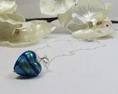 Striped Blue Green Heart Necklace - Murano Venetian Sapphire Blue Green 24KT Goldfoil Heart Necklace 925 Sterling Silver & Swarovski Crystal