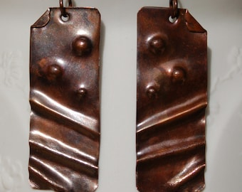 Fold Form Copper Earrings...............item number 455