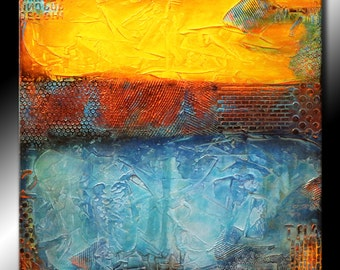30x30 Original Abstract Painting TEXTURED Square Canvas Modern Acrylic Yellow Orange Blue Brown Fine Art by Maria Farias
