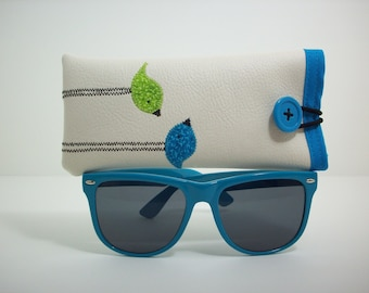 Eyeglass case, Sunglass case, case for glasses in cream with blue and lime green birds, glasses sleeve, eyewear case