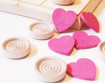 Wooden HEARTS and HUGS Valentines Tic Tac Toe Set