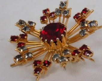 Stunning vintage brooch, flashy red and grey pinwheel starburst retro brooch,jewelry
