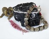 Chunky Pyrite bracelet - maroon cord - sterling silver toggle closure - natural gemstone bracelet - women's bracelet