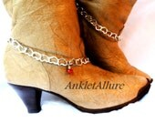 Romantic Tumble For Ya Heart Boot Chains Red Crystal Silver Boot Jewelry Cowboy Boots