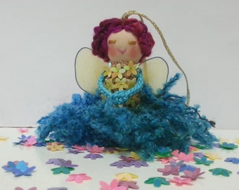 Turquoise Fairy Ornament, Fairy Mobile, Yellow, Pink, Blue