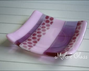 Pinky Party glass anything dish - pink glass with striped design