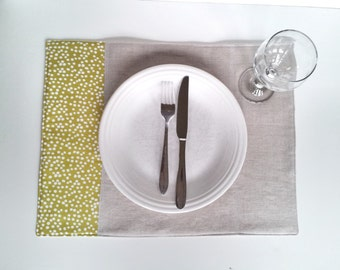 Placemats, Set of 4 - Charteuse and Linen - Ready to ship