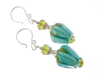 Handmade Lampwork Earrings, Teal Tulip Earrings, Glass Bead Earrings, Flower Earrings,  Glass Bead Jewelry, Lampwork Jewelry