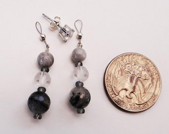 Petite Tourmalated Quartz Crustal Grey Earring Jackets