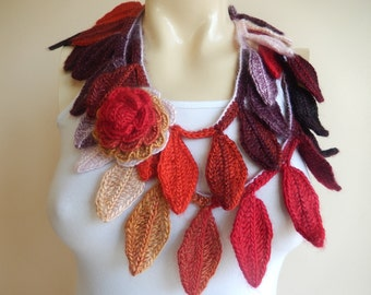Pastel Crochet Scarf-Leaves  Necklace Scarf-Multicolor Lariat Scarf-Necklace Lariat Scarf
