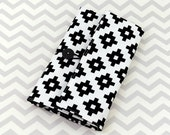 Pencil Crayon or Marker Case, Crochet Hook Case - Black and White