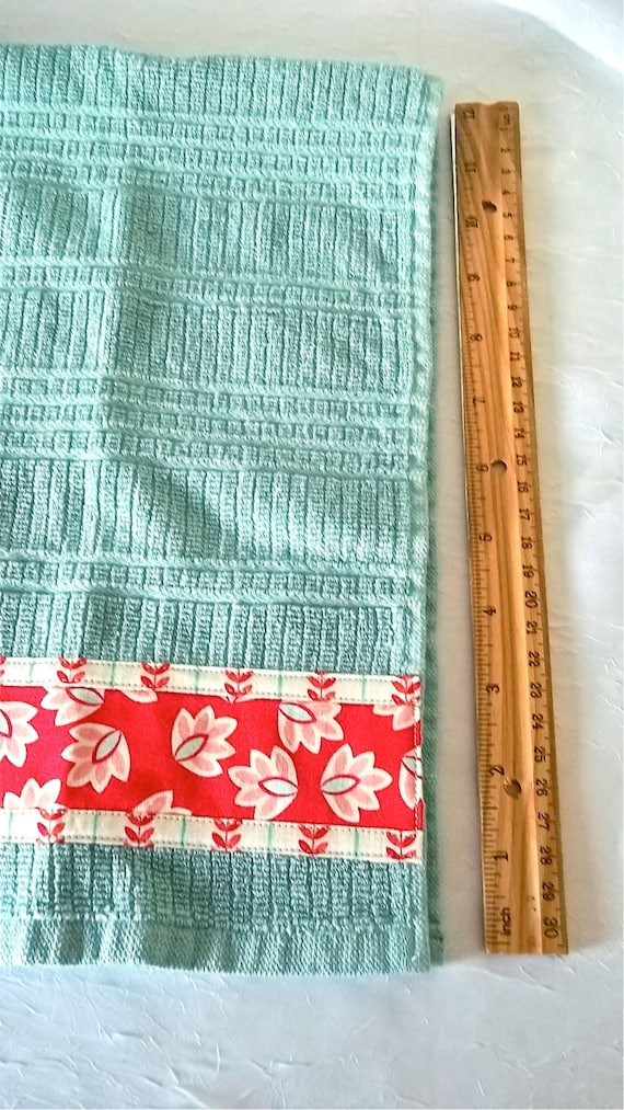 Turquoise Kitchen Towels, Hand Decorated Towels, Set of Two Cotton Aqua Kitchen Towels, Lovely Aqua Dish Cloths, 100% Cotton