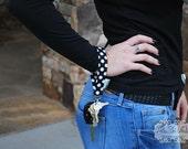 Black & White Polka Dots ,Key Wristlet , Key Fob, Swivel Hook, Key Chain