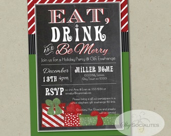 Chalkboard Presents Holiday Invitation | Eat Drink and Be Merry, Christmas Party, Gift Exchange, White Elephant Party | PDF INSTANT DOWNLOAD