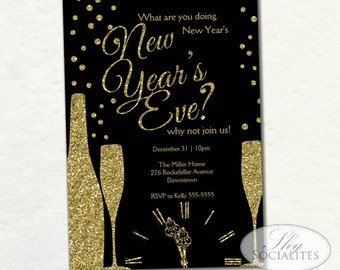 Champange New Year Invitation | New Years | Glitter, Clock, Champagne, Sparkle, Dots, What are you doing New Year's Eve | Instant Download