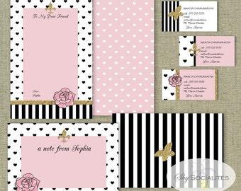 Charming Stationery Set   Calling Cards   Business Cards   Note Cards   Parisian, Pink, Black, Fleur De Lys, hearts   INSTANT DOWNLOAD PDF