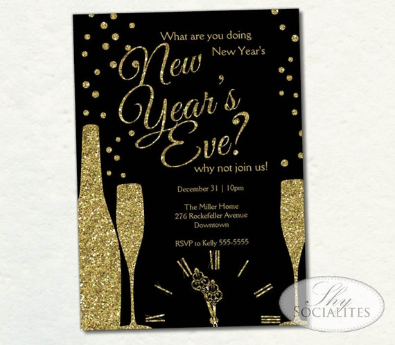 champange new year invitation new years glitter clock