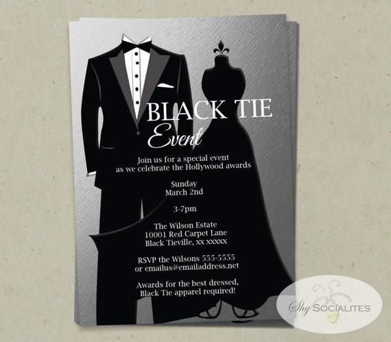 silver black tie invitation instant download faux foil. Black Bedroom Furniture Sets. Home Design Ideas