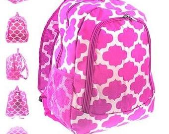 Personalized  Girls QUATREFOIL  Backpack  Pink Quatrefoil