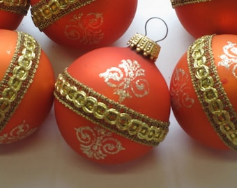 Set of Six Vintage Orange Ornaments with Gold Glitter and Lace West Germany Christmas Tree Ornaments