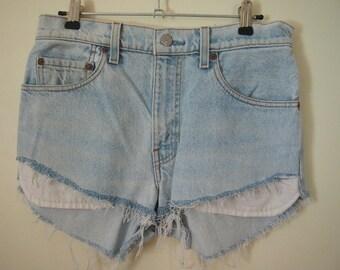 Vintage pale blue denim shorts LEVIS cut offs size small