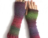 Boho Fingerless gloves mittens, Long fingerless glove, Knit fingerless glove, Multycolored fingerless arm warmer