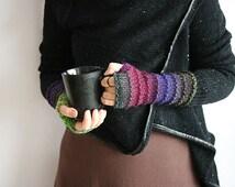 Long Fingerless gloves in bohemian style, Wool knit fingerless glove, Multicolored fingerless arm warmer, Elegant woman gloves