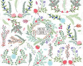 Vintage Floral Clipart Clip Art, Vintage Rustic Wedding Laurel Wreath Leaf Clip Art Clipart Vectors - Commercial and Personal Use