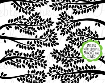 Branch Silhouettes 2 Clipart Clip Art, Tree Branch Clip Art Clipart Vectors - Commercial and Personal Use