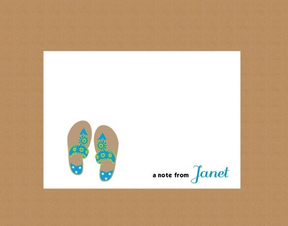 Personalized Note Cards-Gift Boxed Set of 10, Tropical Sandals
