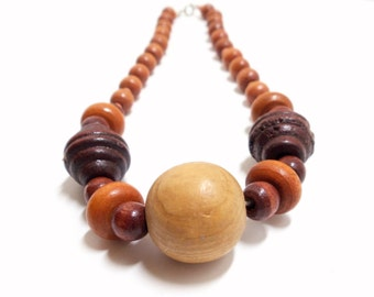 Wood Choker  Hippy Necklace 70s Necklace  Boho Necklace  Brown Tan Necklace Beaded Choker Vintage Wood 16 Inches