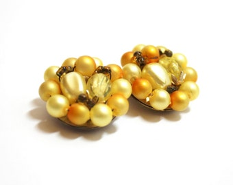 Yellow Cluster Earrings  Hong Kong  1950s  Clip Earrings   Pearl Earrings  Beaded Earrings 1950s Fashion Yellow Pearls Costume Jewelry
