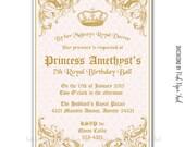 Royal Princess Invitation - Customizable Wordings - Print your own - Birthday - Bridal Shower - Baby Shower