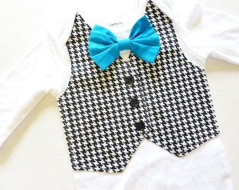 Black and White Houndstooth Tuxedo Bodysuit Vest with Matching Removable Bow Tie
