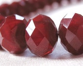 12mm Faceted Cranberry Red Velvet Opaque Crystal Rondelle Beads, large 12mm x 10mm, 36 pieces, 12 inches LIMITED QUANTITIES