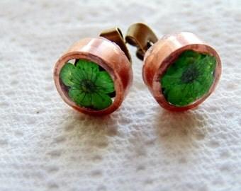 Green Flower Earrings, Copper Earrings, Eco Resin Earrings, Stud Earrings