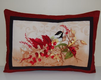 SALE, Autumn Season Pillow, Chickadee, Fall, Harvest
