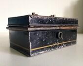 Antique Tin Toleware Industrial Box