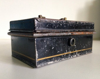 Antique Tin Toleware Industrial Box