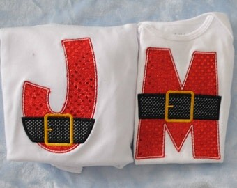 Initial with Santa Belt Embroidered Personalized Shirt or Bodysuit