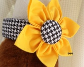Dog Collar w Hand Sewn Fabric Flower Set Choose color Classic Black White Houndstooth CHOOSE SIZE Adjustable Dog Collar D Ring Accessory Pet